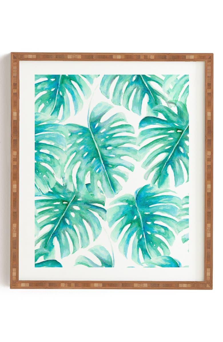 DENY DESIGNS Jacqueline Maldonado - Paradise Palms Framed Wall Art, Main, color, GREEN