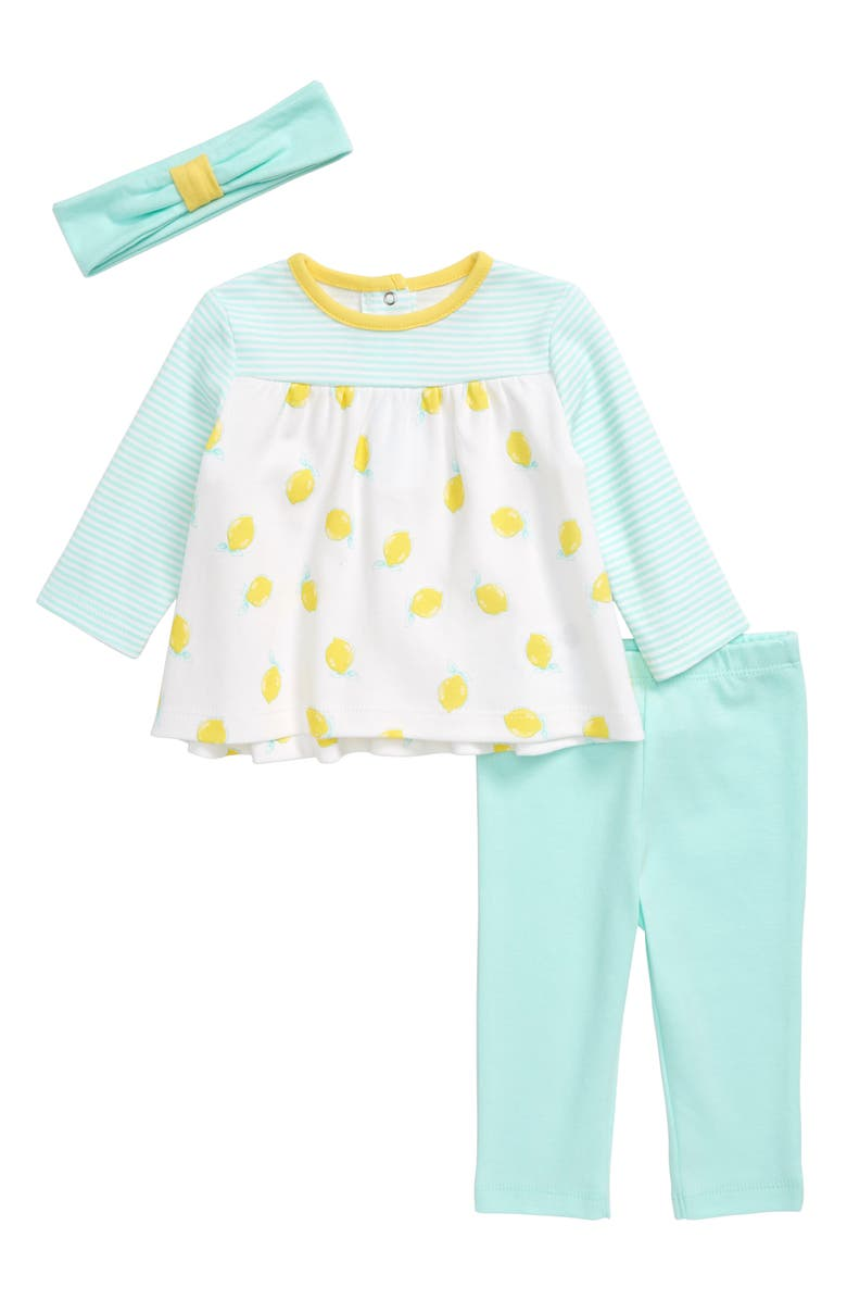 LITTLE ME Lemon Tunic, Leggings & Headband Set, Main, color, AQUA