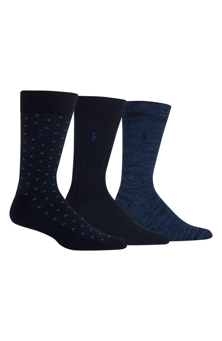 POLO RALPH LAUREN Supersoft Diamond Dot Assorted 3-Pack Socks, Main, color, NAVY
