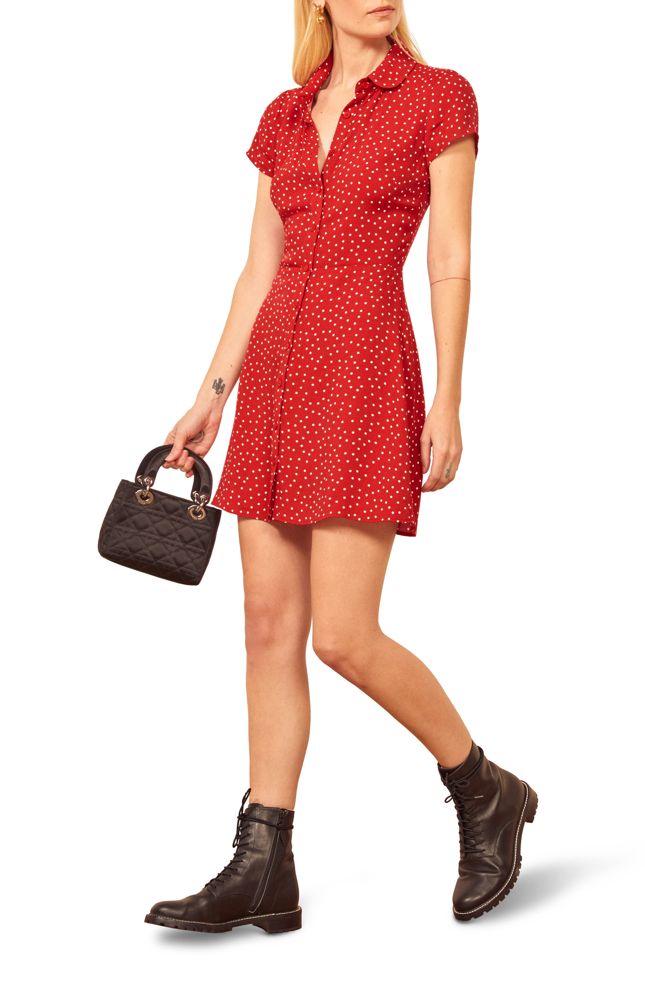 Tiny polka dots pepper a sweet button-front dress updated with a gently rounded spread collar and slim, figure-skimming fit. Style Name: Reformation Sunday Minidress. Style Number: 6036492. Available in stores.