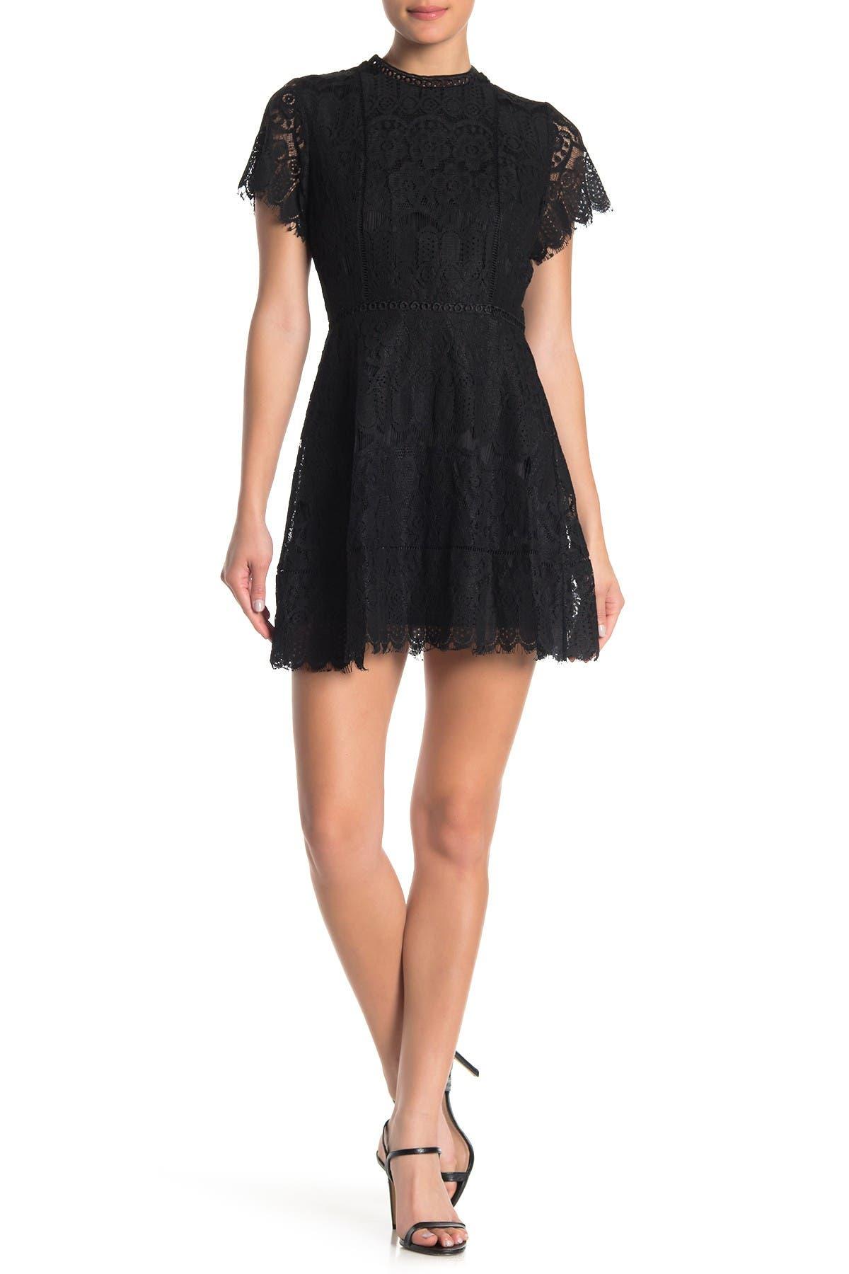 Image of Blu Pepper Mock Neck Lace Dress