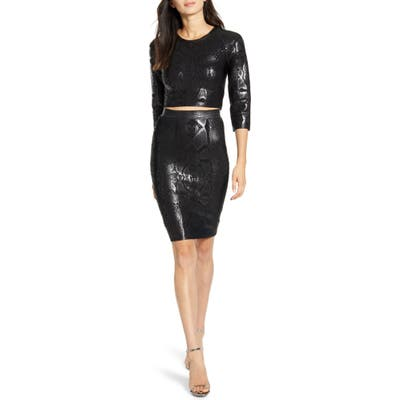 Sentimental Ny Two-Piece Body-Con Dress, Black