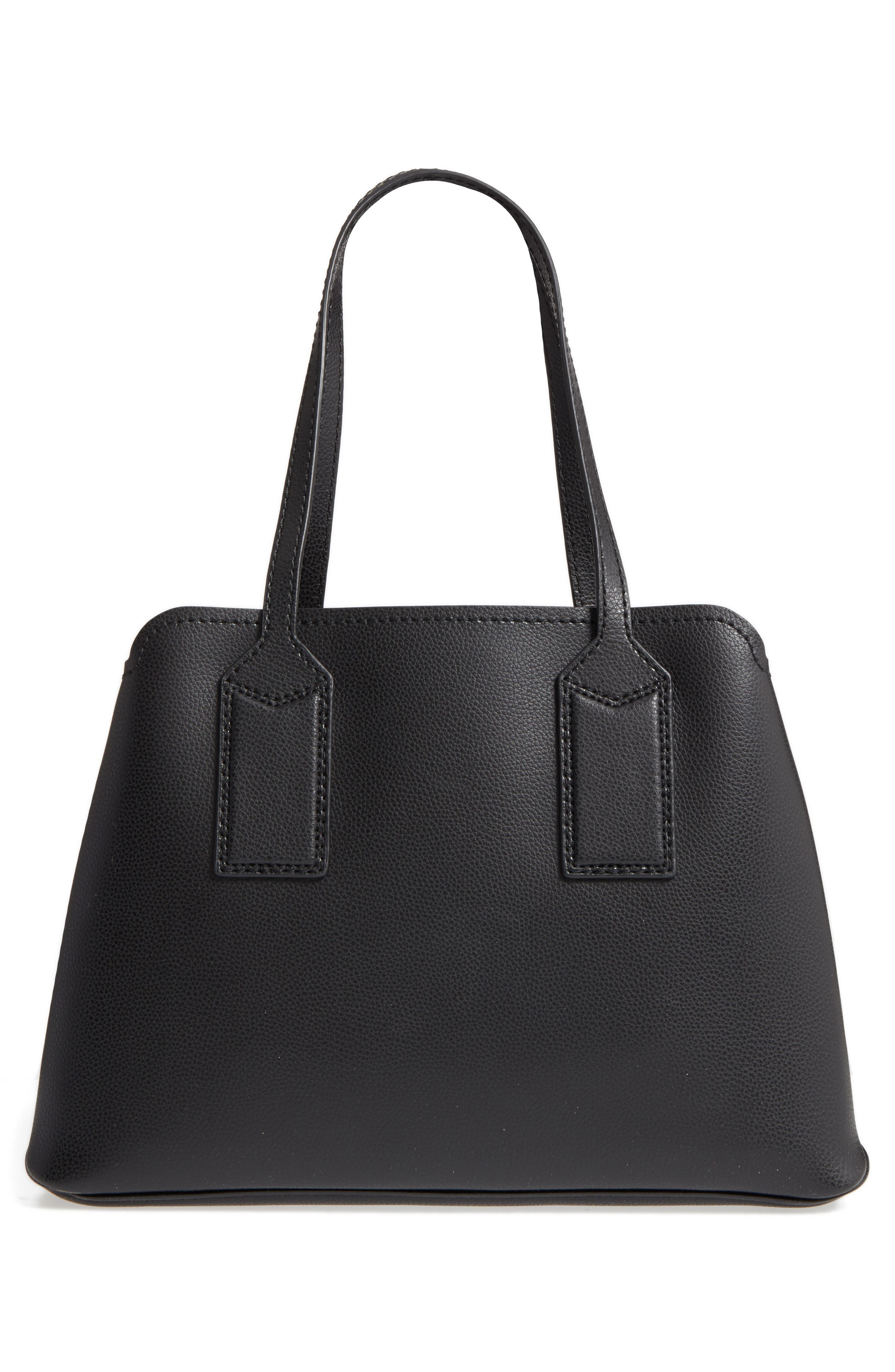 ,                             The Editor Leather Tote,                             Alternate thumbnail 4, color,                             BLACK