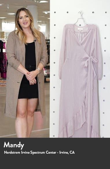 The Meryl Long Sleeve Metallic Chiffon Wrap Gown, sales video thumbnail