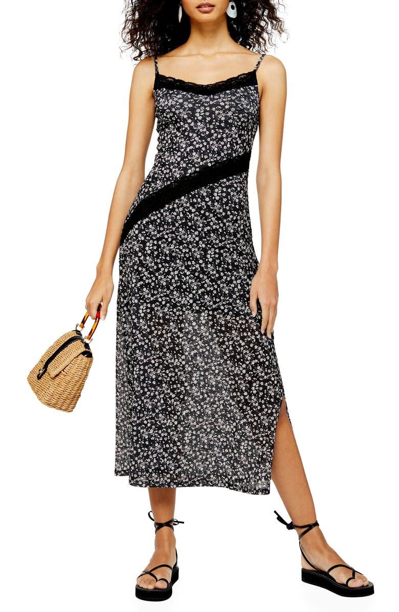 TOPSHOP Floral Lace Sleeveless Dress, Main, color, BLACK MULTI