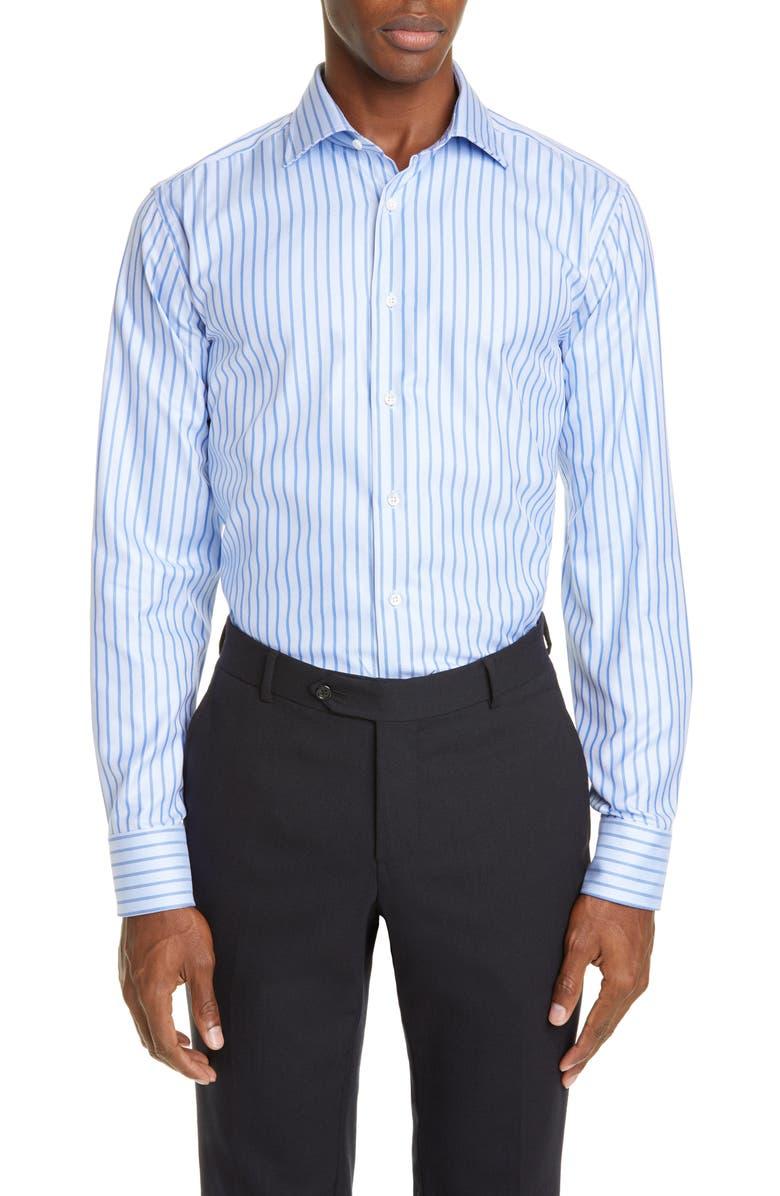 CANALI Regular Fit Stripe Dress Shirt, Main, color, BLUE
