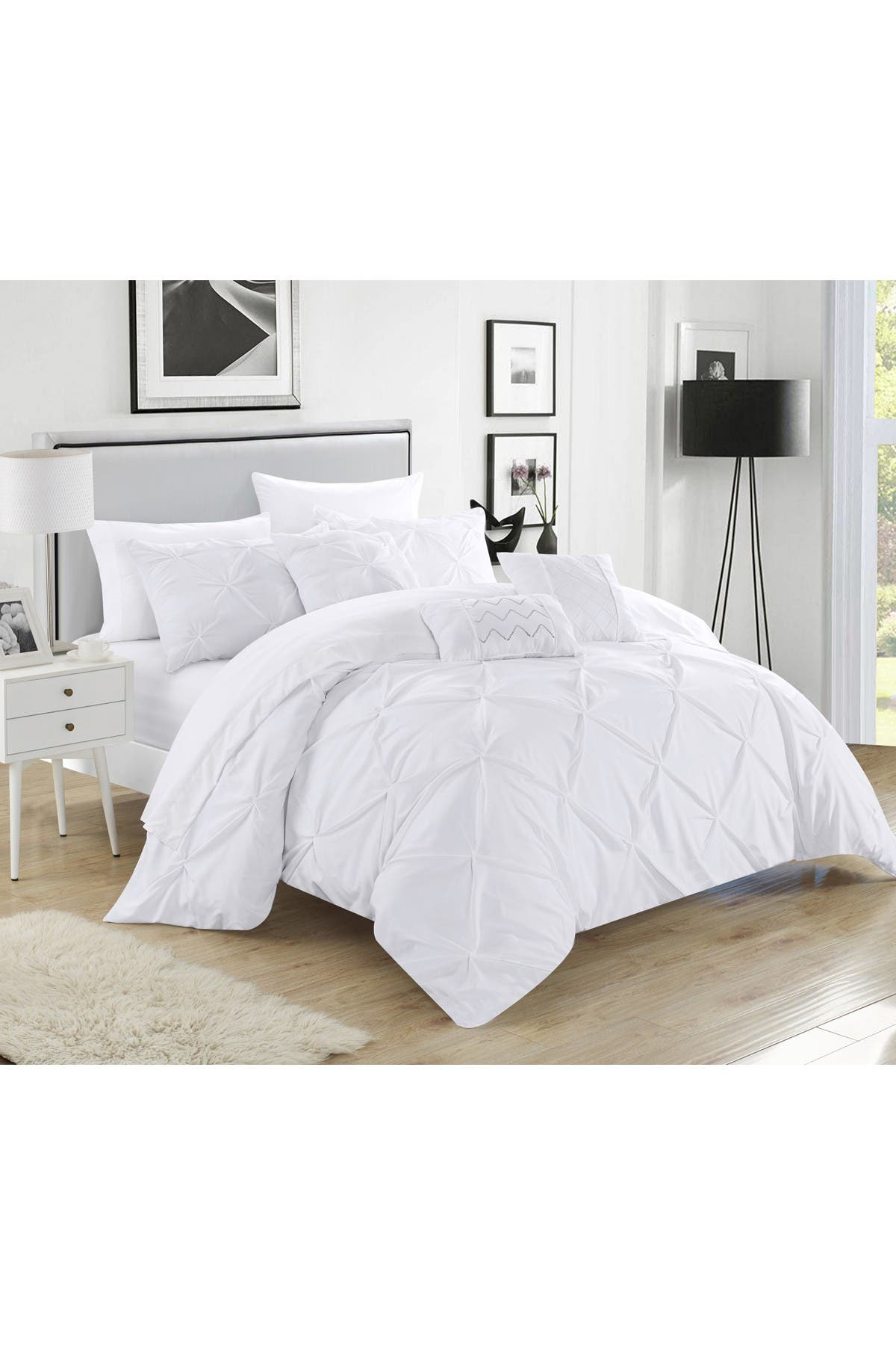 Chic Home Bedding White Salvatore Pinch Pleated King Comforter 10 Piece Set Nordstrom Rack