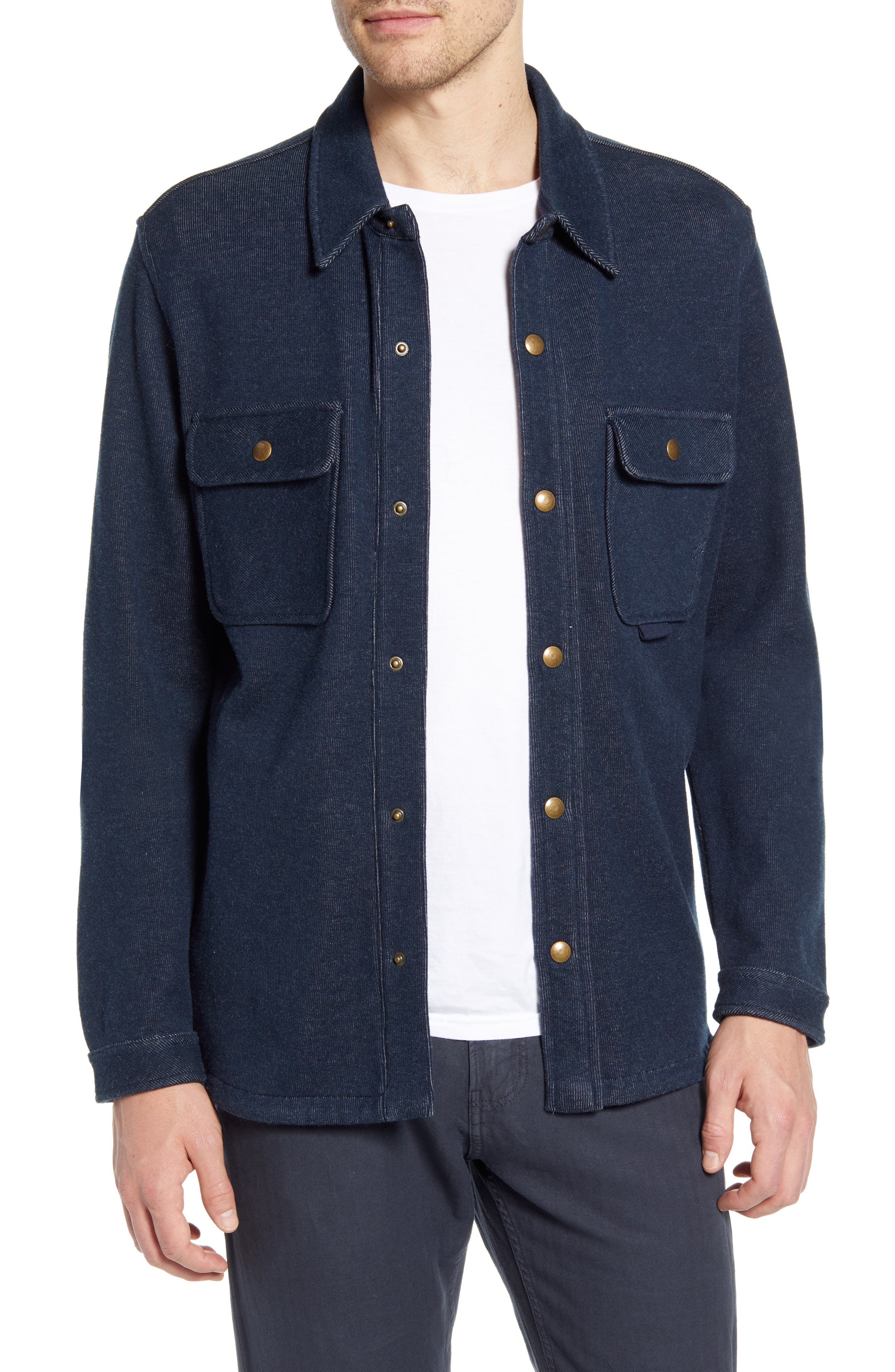 Image of Billy Reid Solid Snap Shirt Jacket