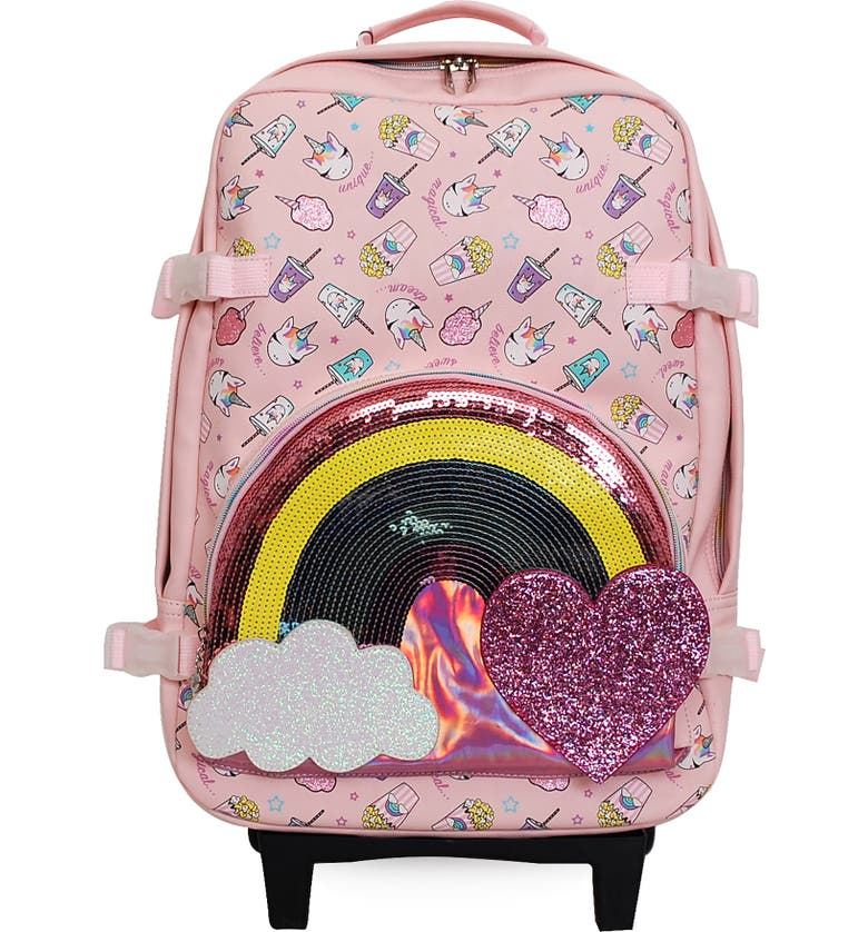 OMG Junk Food Rainbow & Unicorn 19-Inch Rolling Suitcase, Main, color, PINK