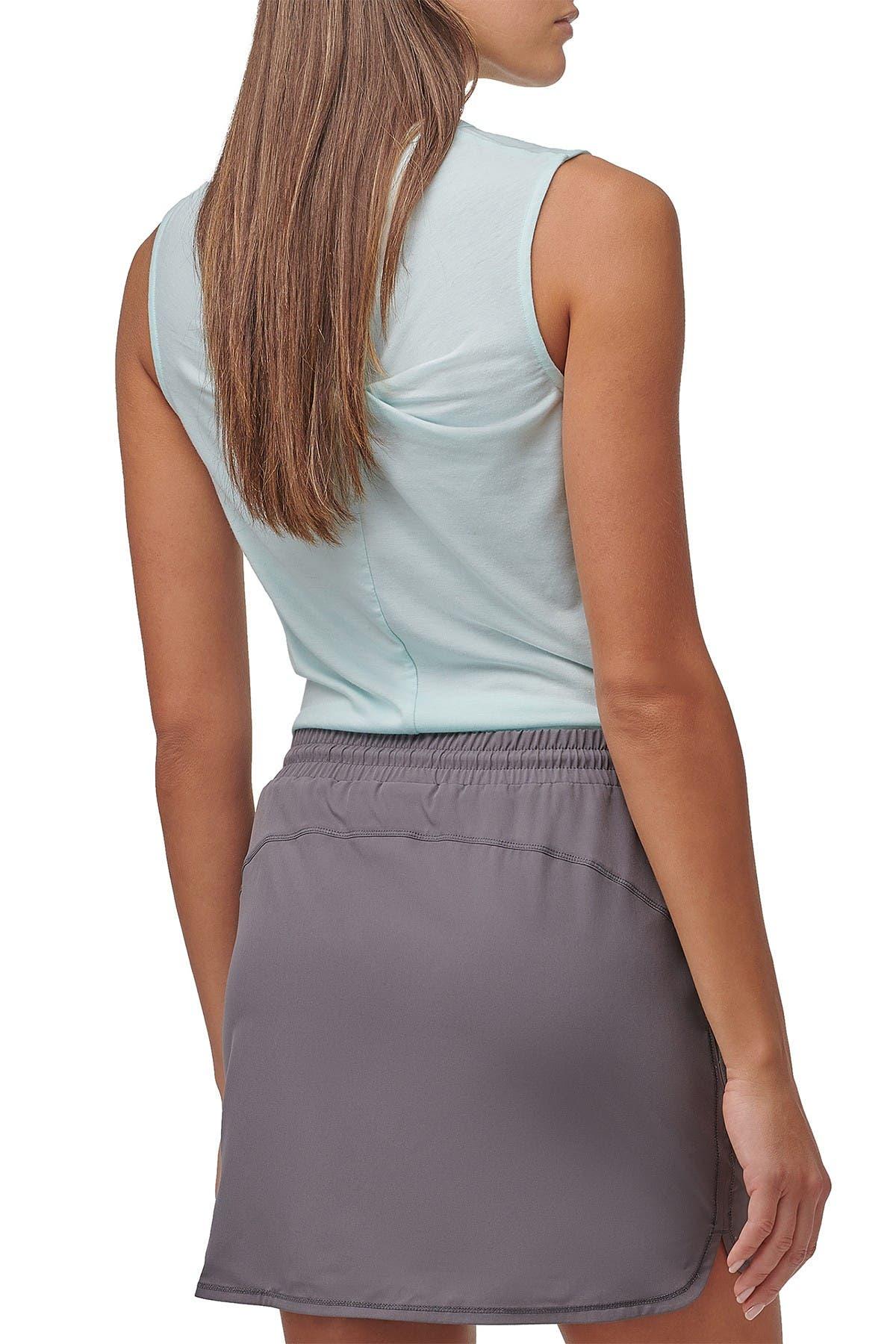 Marc New York Performance Womens Pinstripe Denim Jersey High-Low Top Shirt