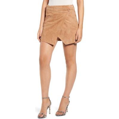 Blanknyc Asymmetrical Suede Miniskirt, Beige