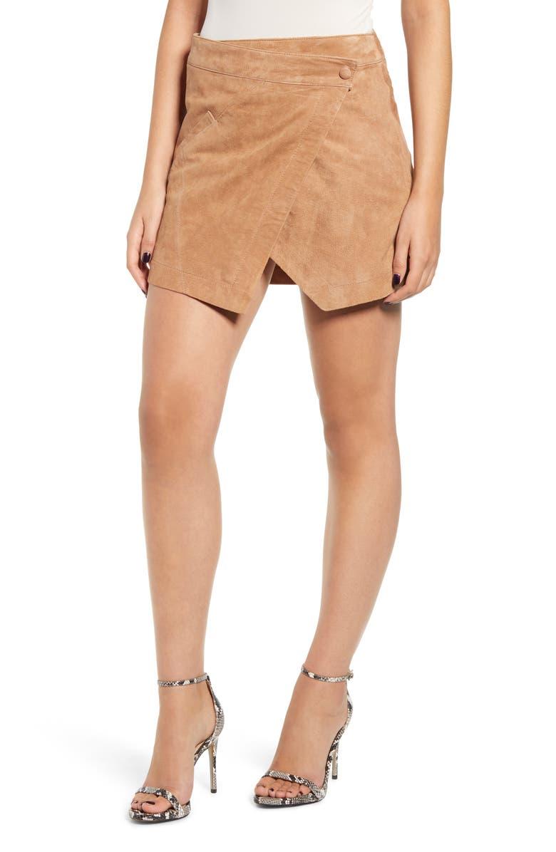 BLANKNYC Asymmetrical Suede Miniskirt, Main, color, ALMOND