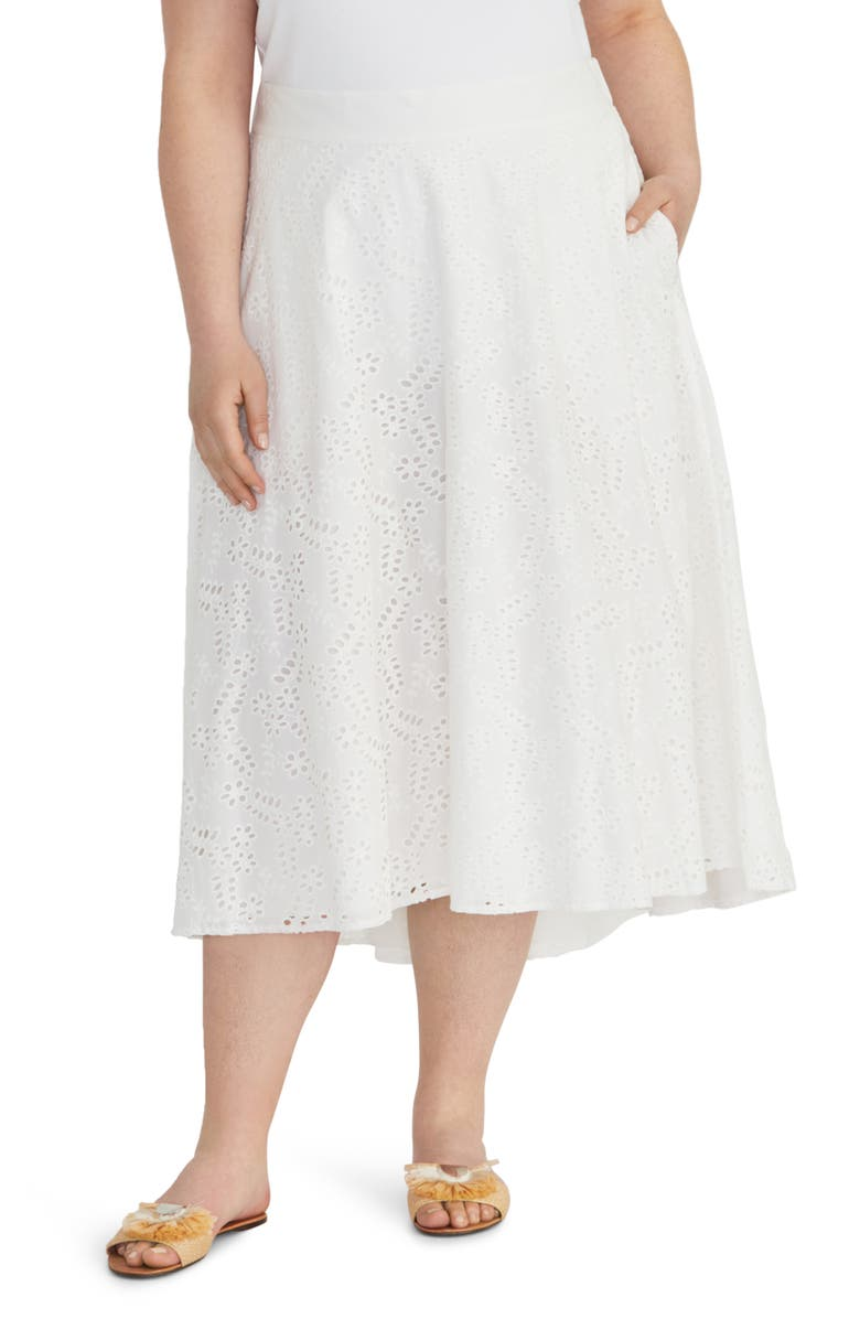 RACHEL ROY COLLECTION Eyelet Cotton Midi Circle Skirt, Main, color, WHITE