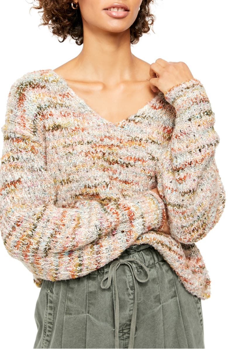 FREE PEOPLE Highland V-Neck Sweater, Main, color, MENDOCINO COMBO