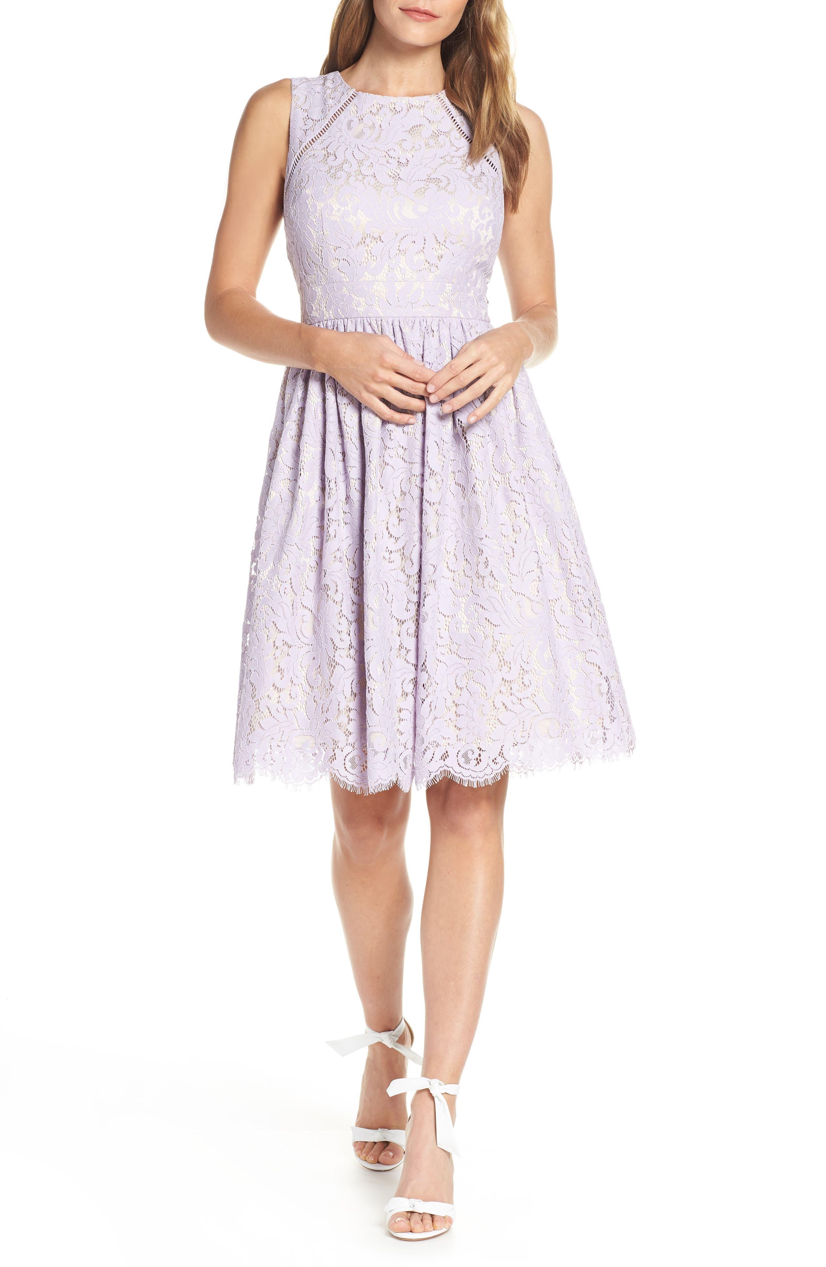 Lace Fit & Flare Dress, Main, color, LAVENDER