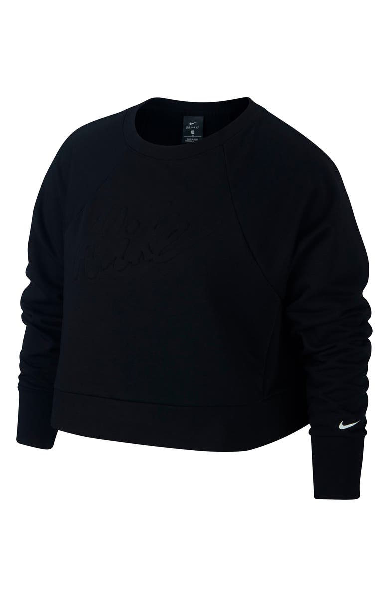 NIKE Dri-FIT Crop Sweatshirt, Main, color, BLACK/ WHITE