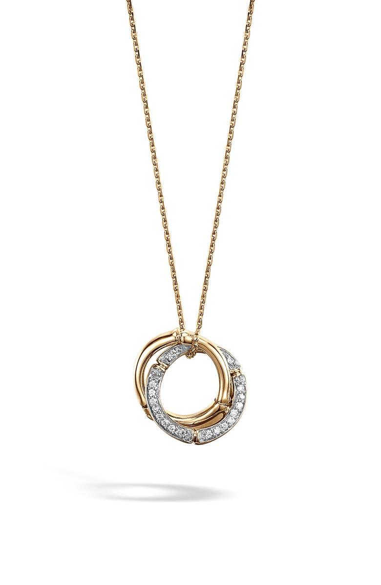 JOHN HARDY Bamboo Diamond & 18k Gold Pendant Necklace, Main, color, GOLD