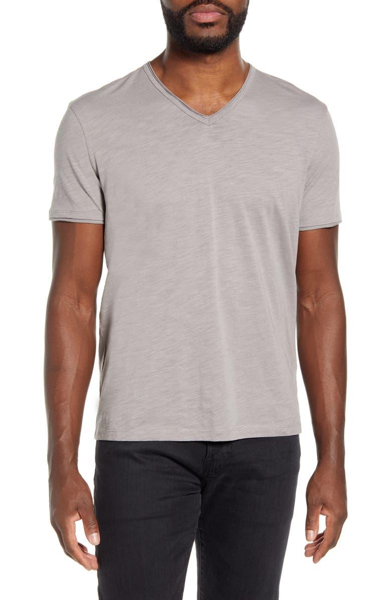 JOHN VARVATOS STAR USA Slubbed V-Neck T-Shirt, Main, color, STONE GREY