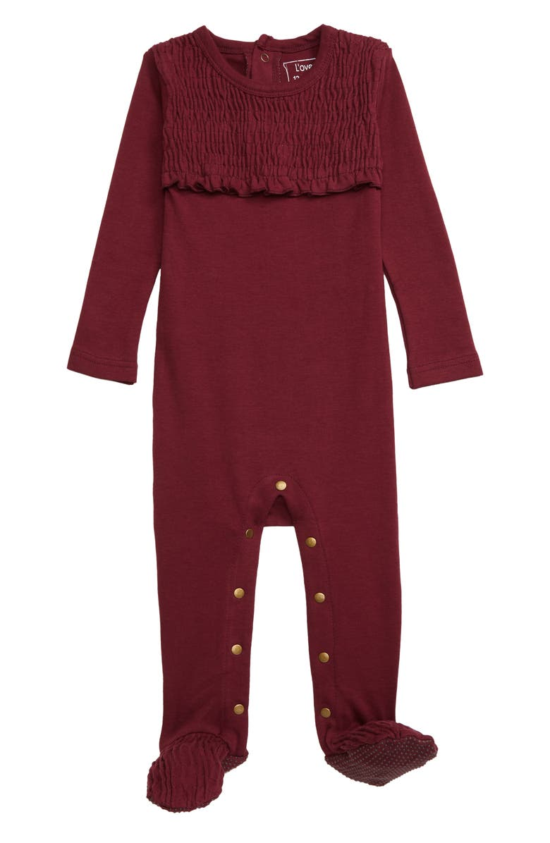 L'OVEDBABY Organic Cotton Smocked Footie, Main, color, CRANBERRY