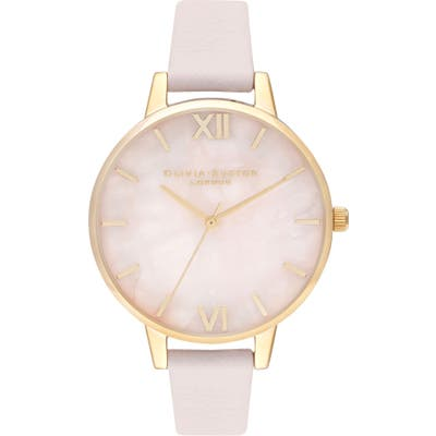 Olivia Burton Rose Quartz Leather Strap Watch,
