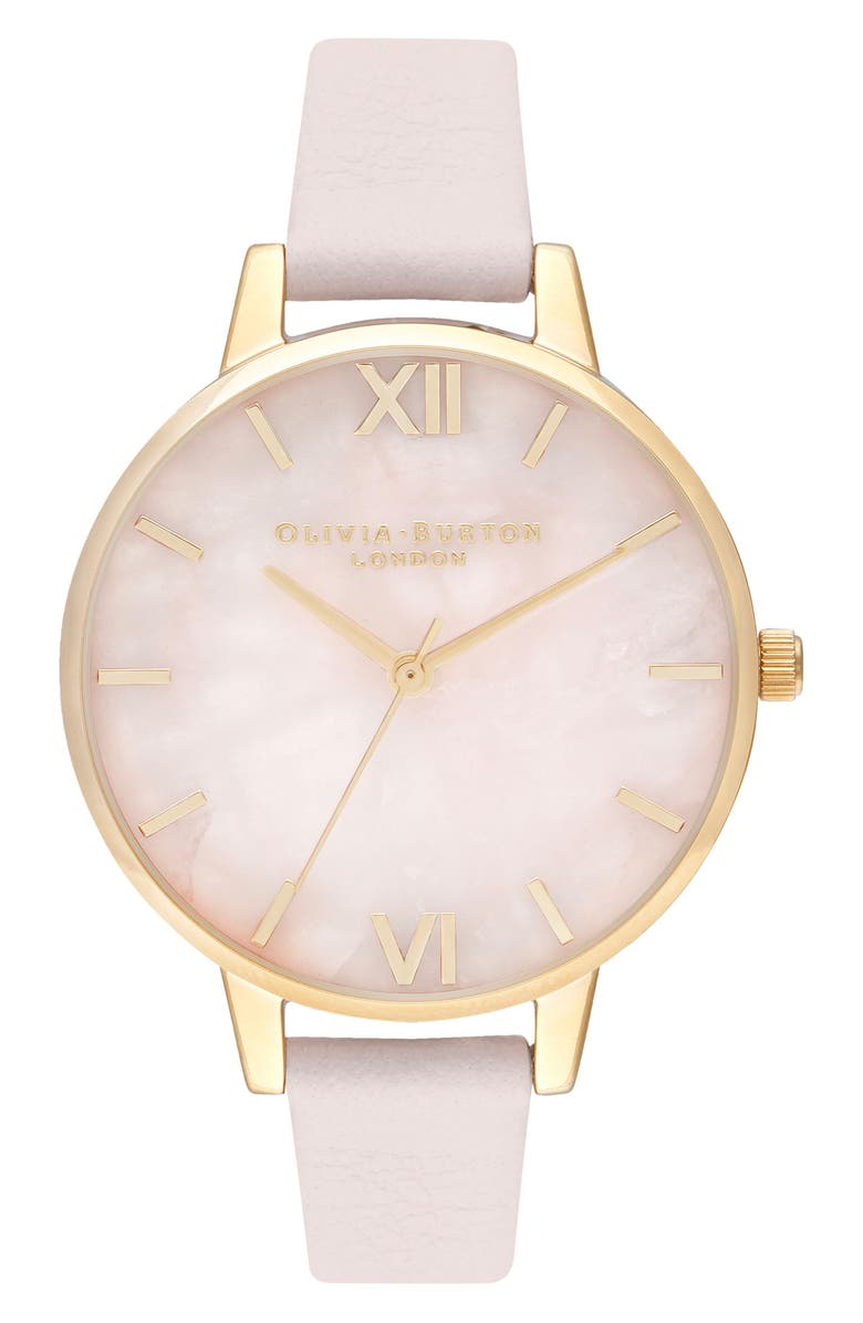 OLIVIA BURTON Rose Quartz Leather Strap Watch, 34mm, Main, color, 650