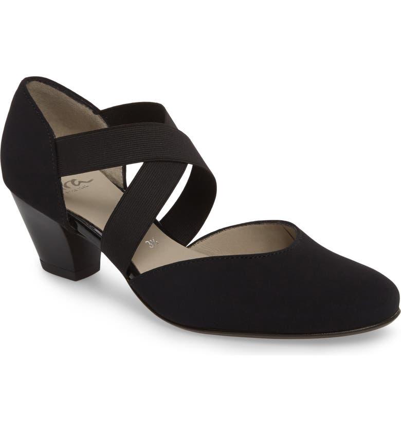ARA Tiffanie Sandal, Main, color, BLACK FABRIC