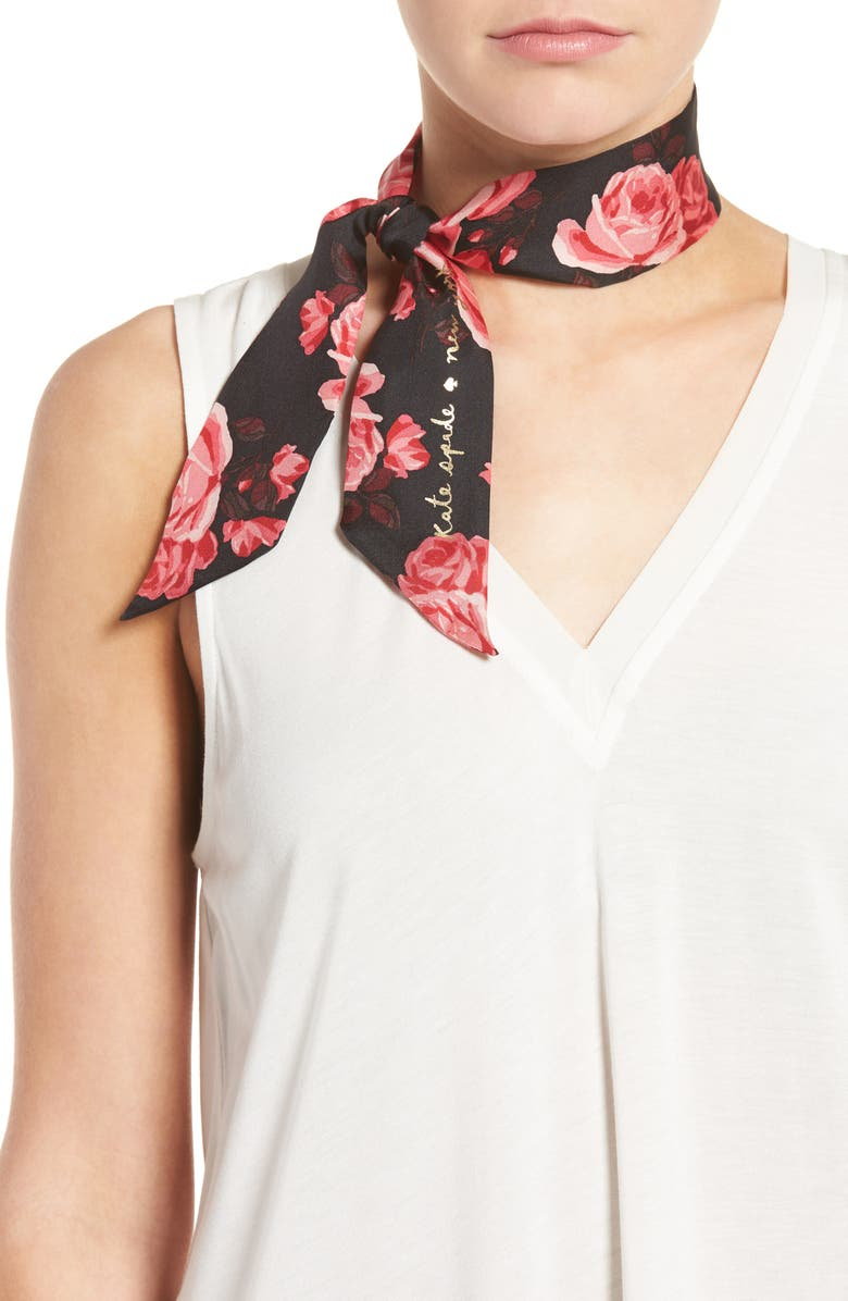 KATE SPADE NEW YORK rosa silk skinny scarf, Main, color, 001