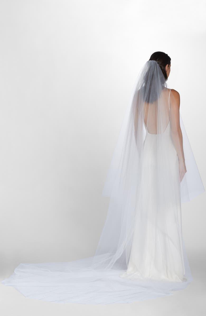 WEDDING BELLES NEW YORK Mia Raw Edge Cathedral Veil, Main, color, WHITE