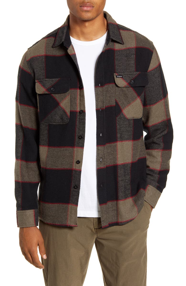 BRIXTON Bowery Plaid Button-Up Flannel Shirt, Main, color, 001
