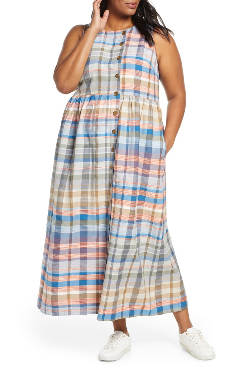 CASLON<SUP>®</SUP> Plaid Button Midi Dress, Main, color, 420