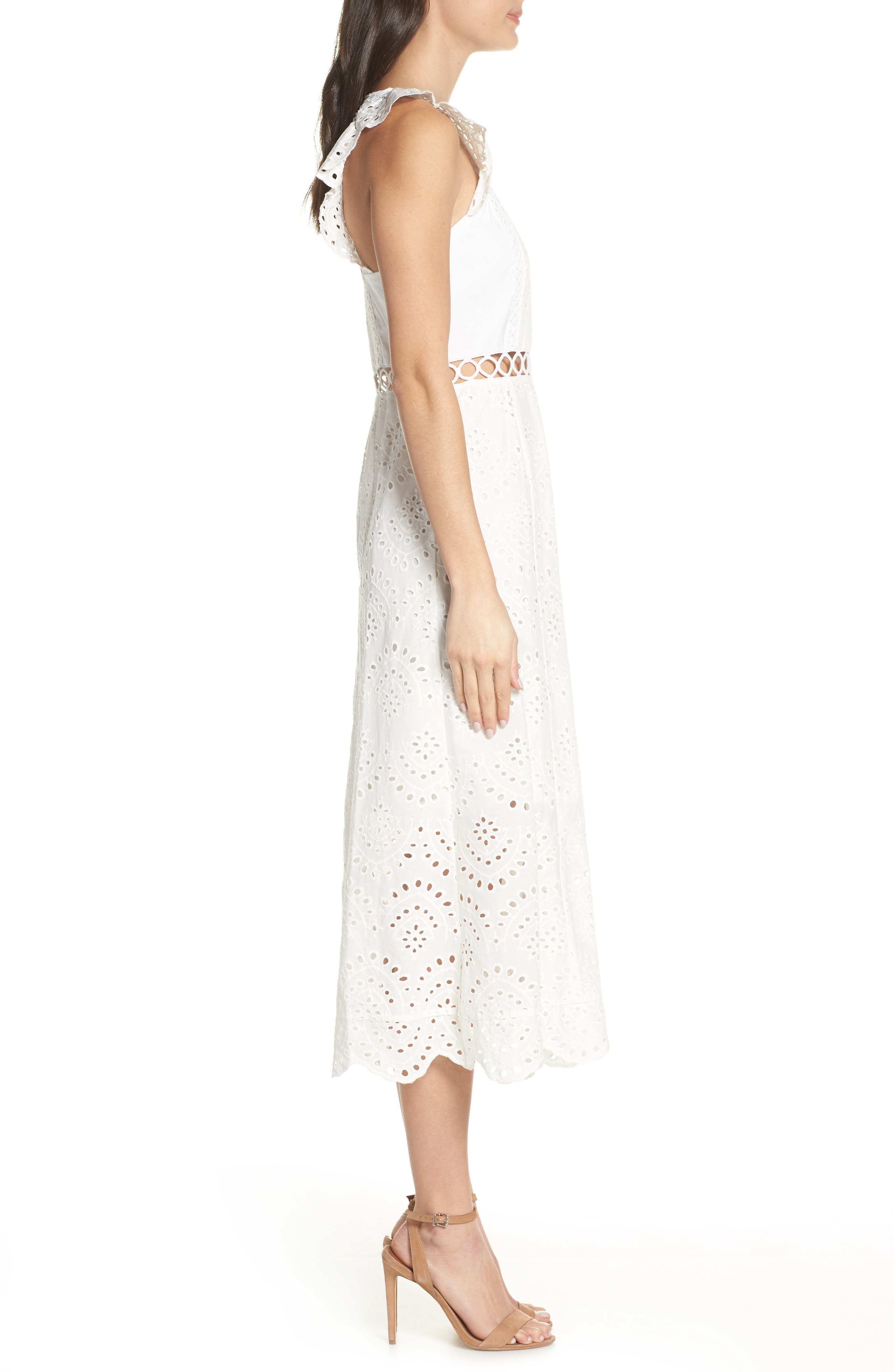 ,                             Eyelet Midi Dress,                             Alternate thumbnail 4, color,                             IVORY