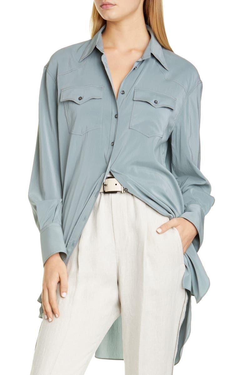 BRUNELLO CUCINELLI Longline Silk Shirt, Main, color, 400