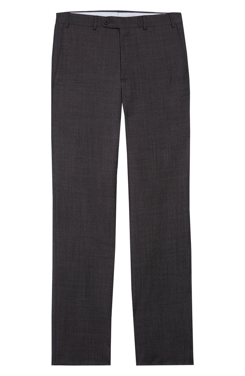 JOHN W. NORDSTROM<SUP>®</SUP> Torino Flat Front Solid Wool Trousers, Main, color, GREY MAGNET TEXTURE
