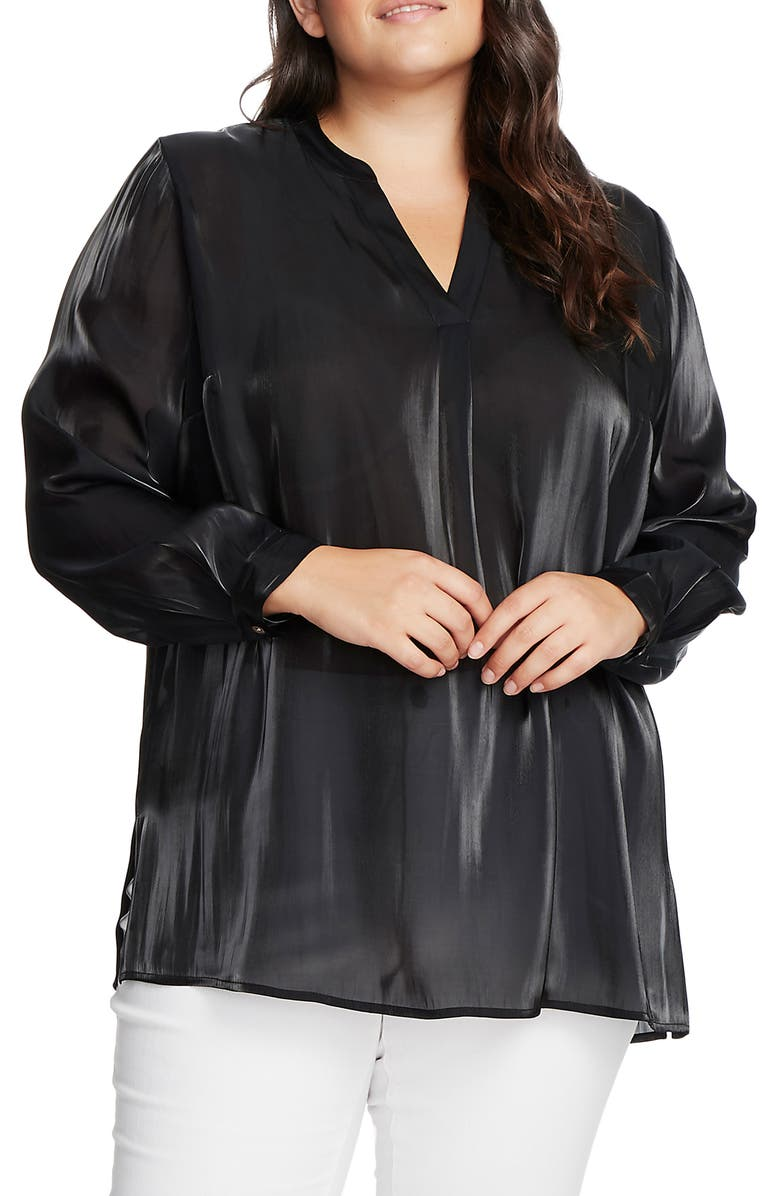 VINCE CAMUTO Iridescent Henley Tunic, Main, color, RICH BLACK
