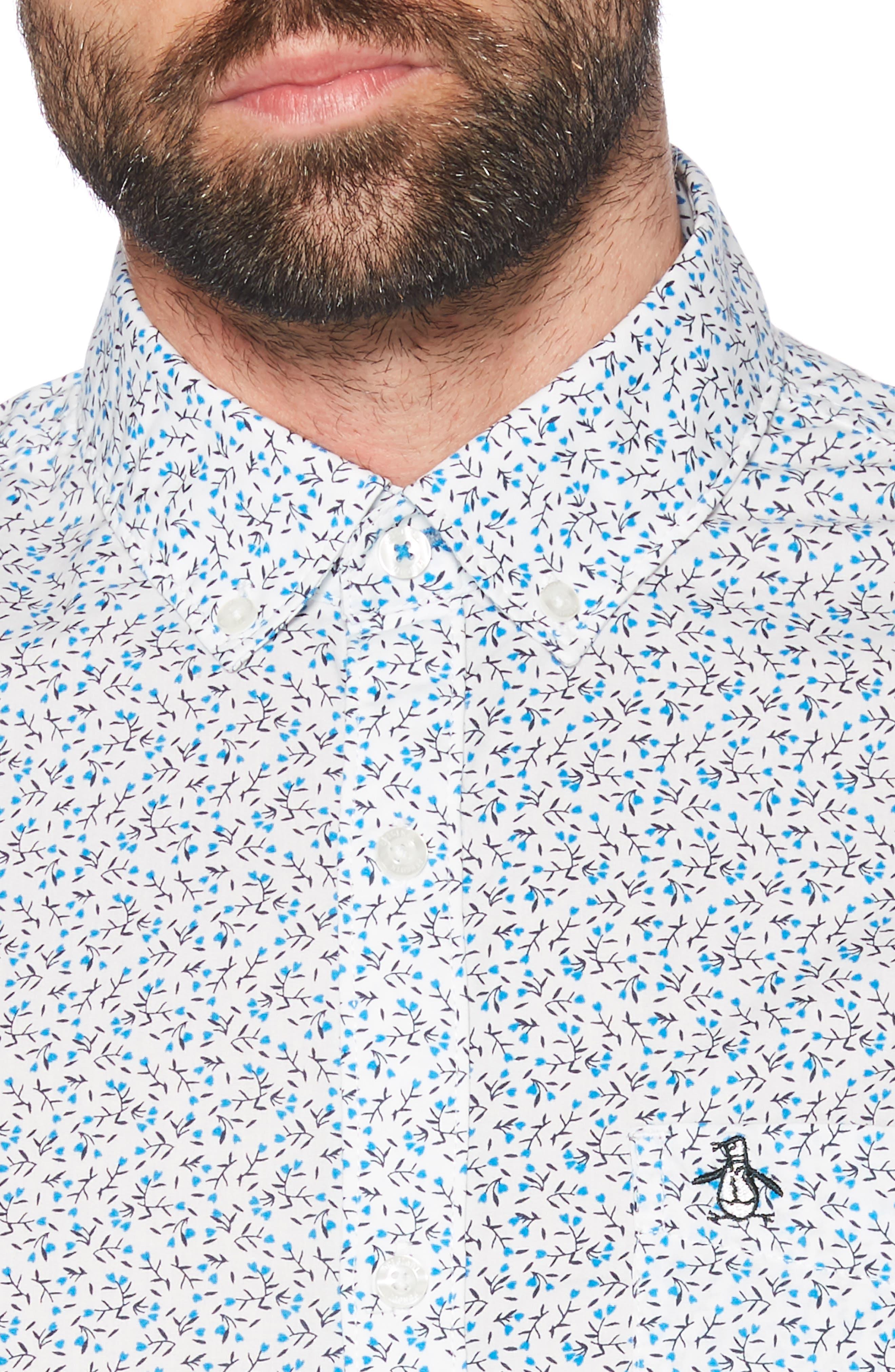 ,                             Ditsy Floral Slim Fit Sport Shirt,                             Alternate thumbnail 2, color,                             BRIGHT WHITE