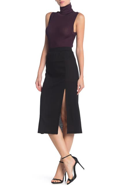 Image of GOOD LUCK GEM Pull-On Ribbed Midi Skirt