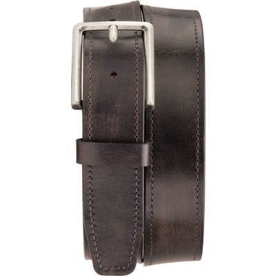 Trask Keystone Leather Belt, Charcoal Italian Stained Calf