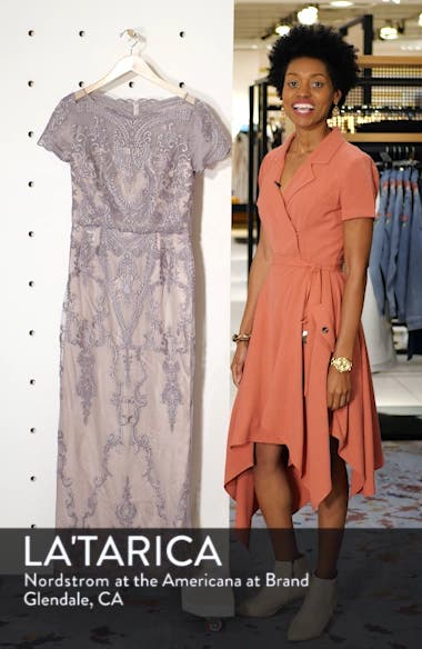Scallop Embroidered Blouson Evening Dress, sales video thumbnail