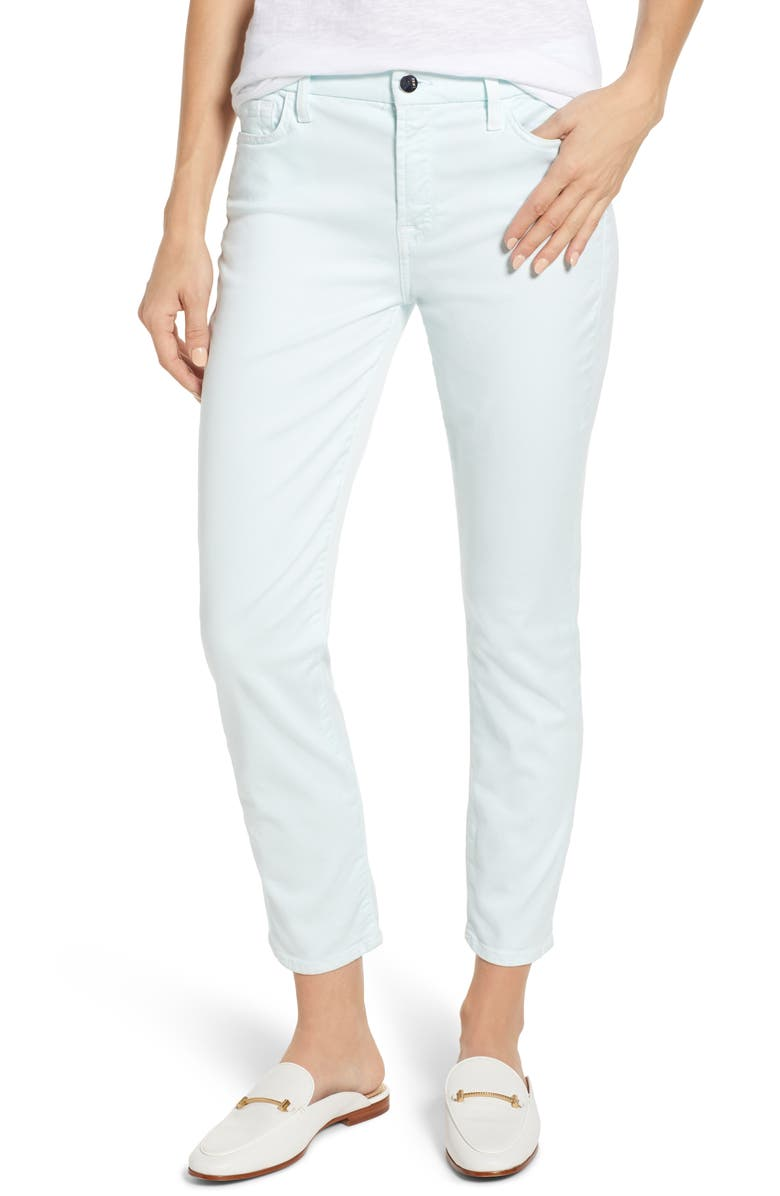 JEN7 BY 7 FOR ALL MANKIND Sateen Ankle Skinny Jeans, Main, color, PASTEL MINT