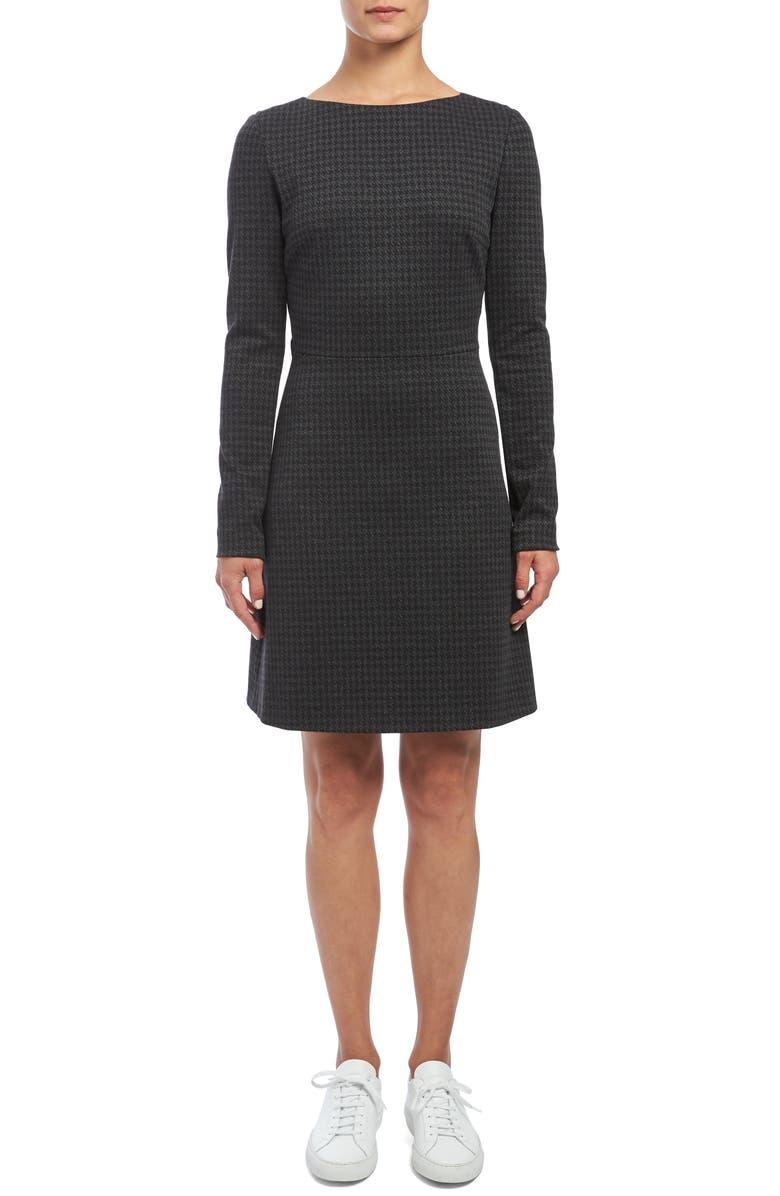 THEORY Kamillina Long Sleeve Houndstooth Dress, Main, color, 400