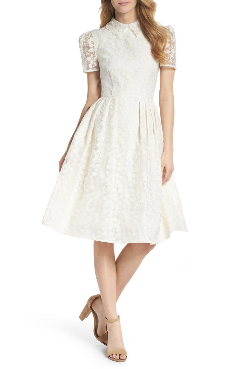 GAL MEETS GLAM COLLECTION Amelia Embroidered Fit & Flare Dress, Main, color, 900