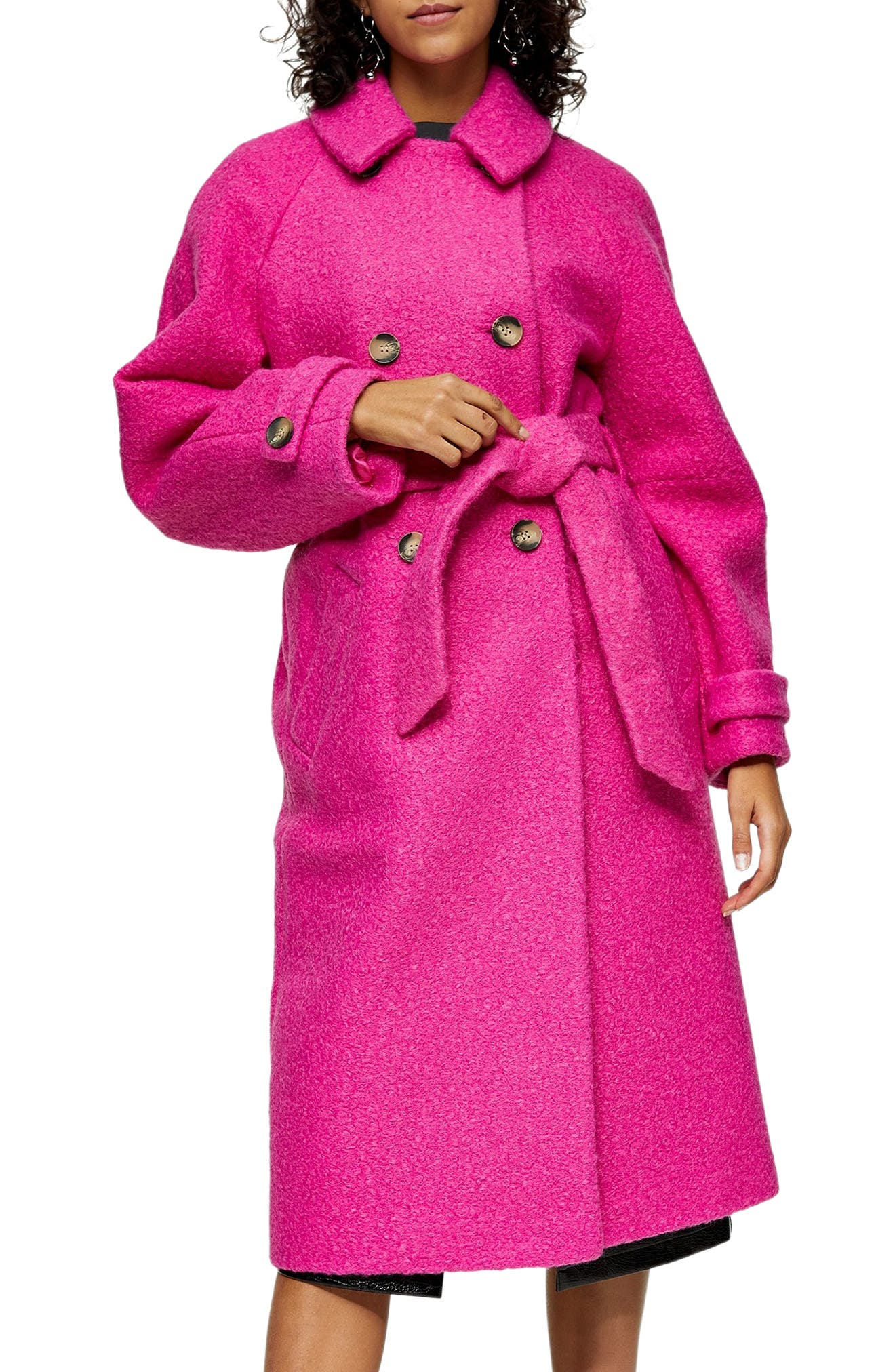 1950s Jackets, Coats, Bolero | Swing, Pin Up, Rockabilly Womens Topshop Arin Boucle Trench Coat Size 12 US - Pink $150.00 AT vintagedancer.com