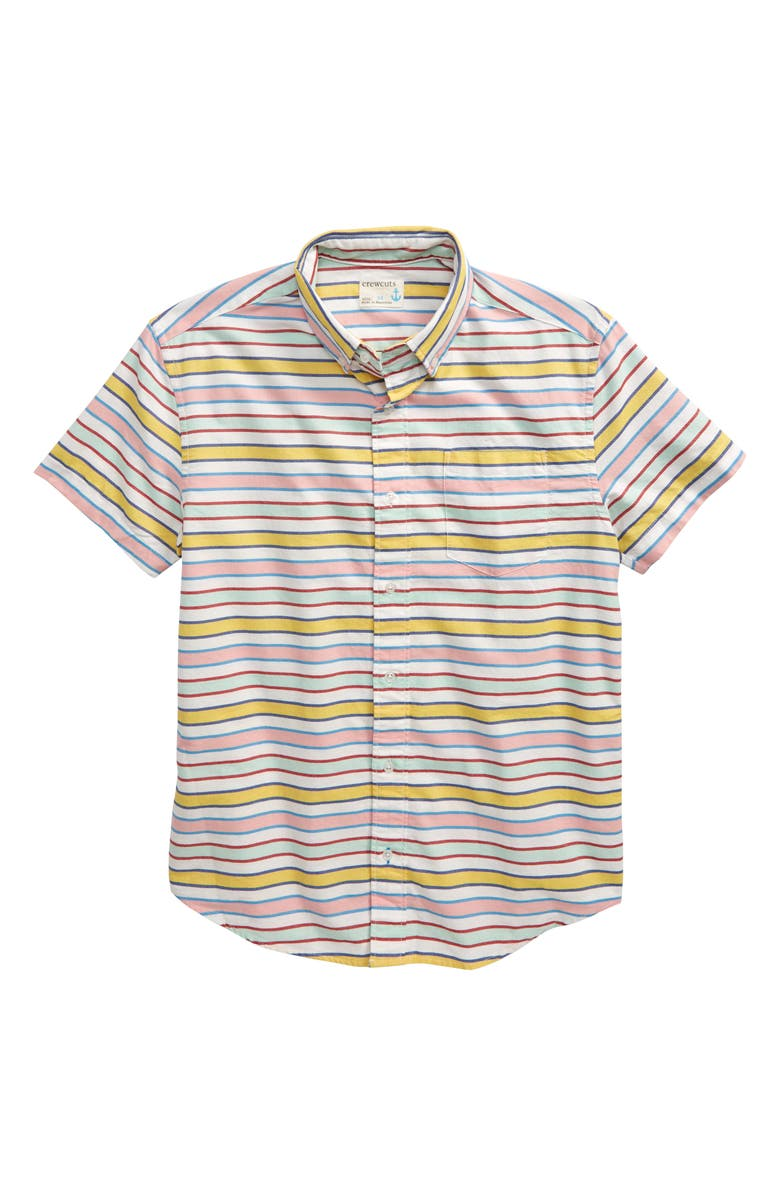 CREWCUTS BY J.CREW Summer Stripe Stretch Oxford Shirt, Main, color, 700
