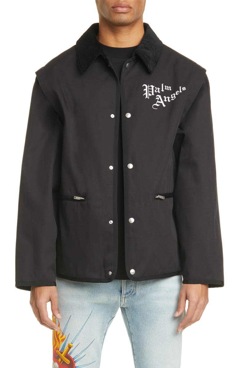 PALM ANGELS Butterfly Graphic Gabardine Jacket, Main, color, BLACK