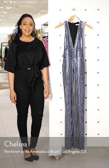Sequin Stripe Wide Leg Jumpsuit, sales video thumbnail