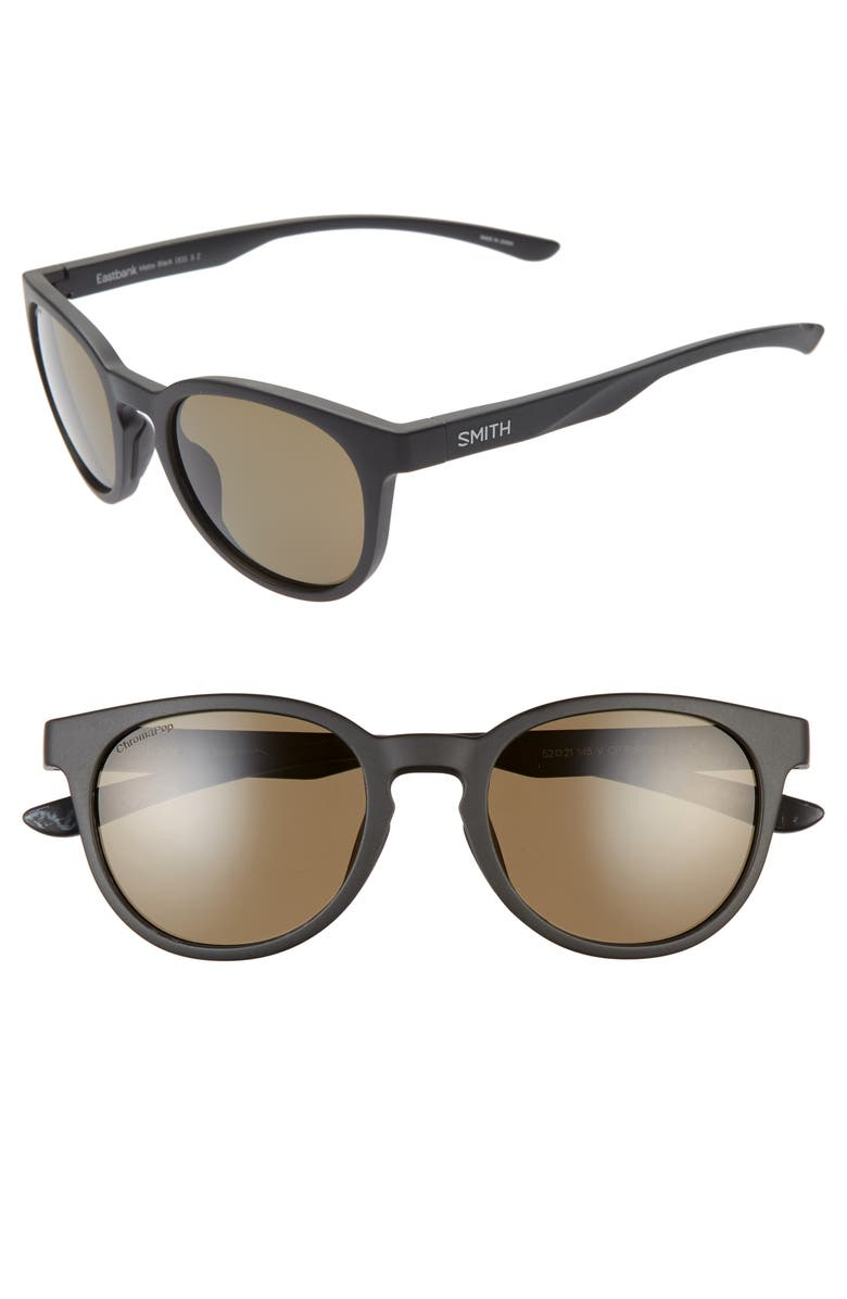 SMITH Eastbank 52mm ChromaPop<sup>™</sup> Polarized Round Sunglasses, Main, color, 001