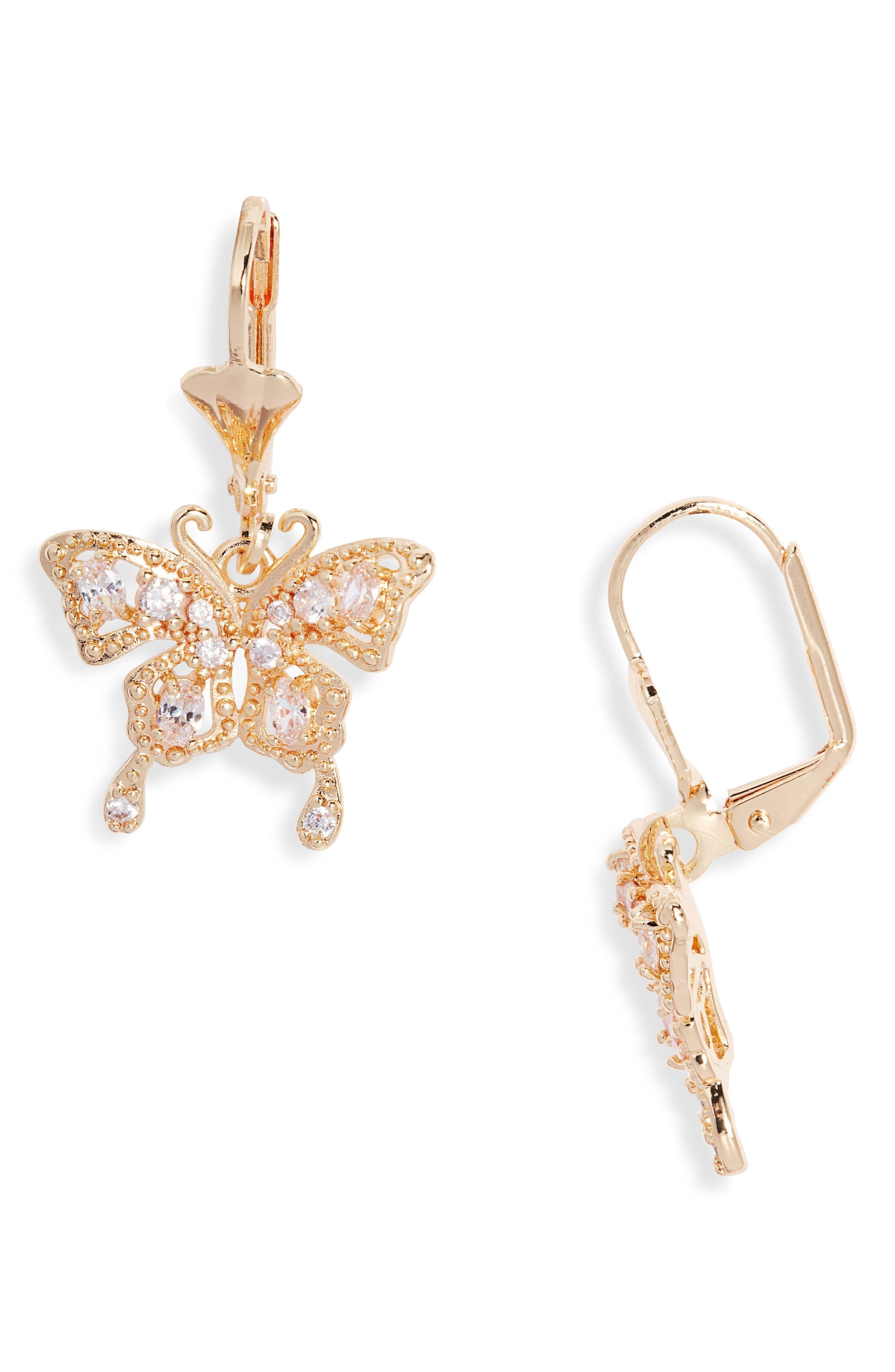 Small Dangle Butterfly Earrings