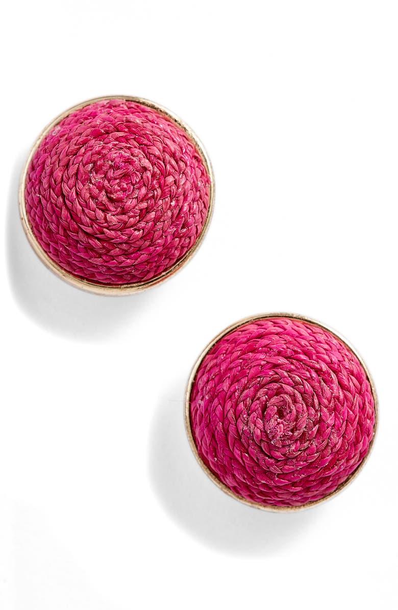 AKOLA Raffia Stud Earrings, Main, color, PINK