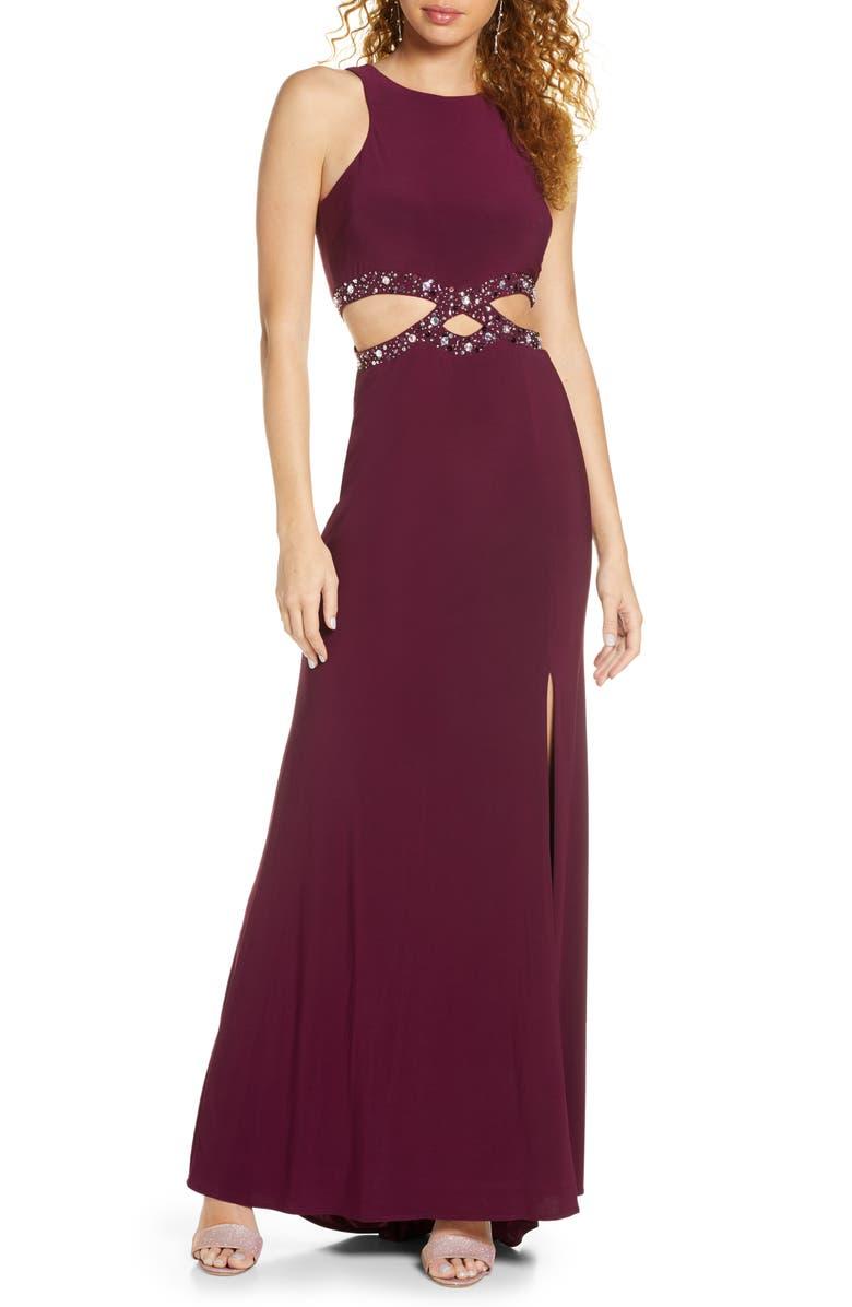 MORGAN & CO. Cutout Waist Gown, Main, color, WINE