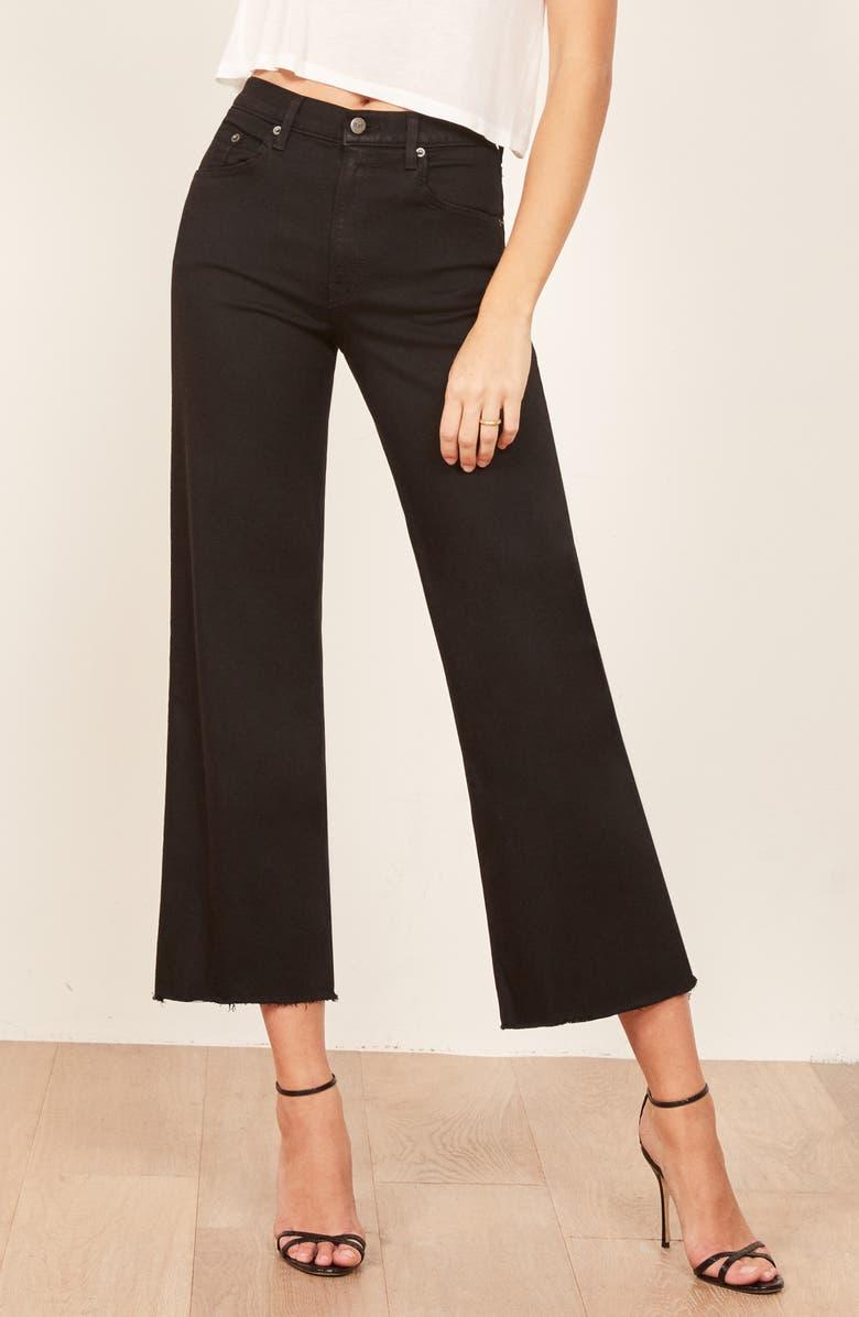REFORMATION Stretch Crop Jeans, Main, color, BLACK